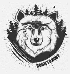 Hand-drawn of a wolf head vector