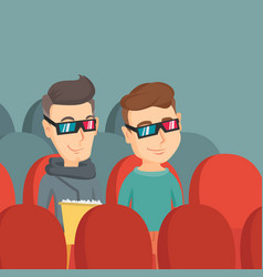 Happy friends watching 3d movie in the theatre vector