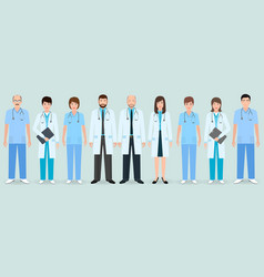 hospital staff group of nine men and women vector image vector image