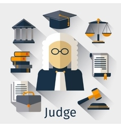 Judge flat icon justice symbols vector