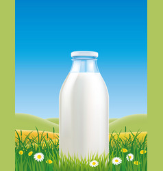 Milk bottle in grass field with chamomile vector