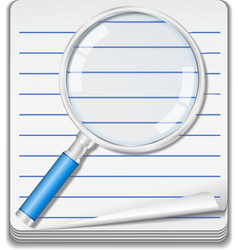Notebook with magnifying glass vector image vector image