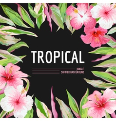 Palm leaves and tropical flowers background vector