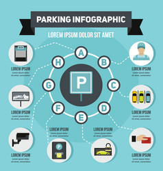 Parking infographic concept flat style vector