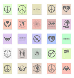 peace set black icon on color sticker vector image