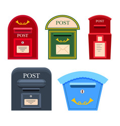 post mailbox colourful collection on white vector image