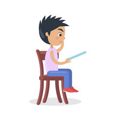 Profile of boy sitting on chair read fairy tale vector