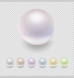 Realistic pearl icon set variegated colors vector