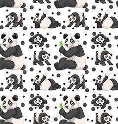 Seamless panda and black spots vector image vector image