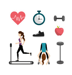 Set healthy lifestyle icons to do exercise vector