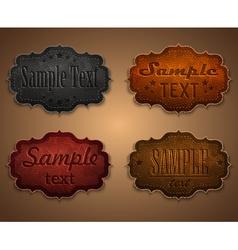 Set leather labels vector image