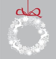 Snowflake white wreath deer vector