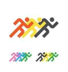 Sport logo template running sportsmen logotype vector