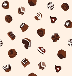 Sweets chocolates and cookie pattern vector