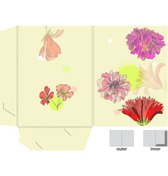 template for bag with flowers vector image vector image