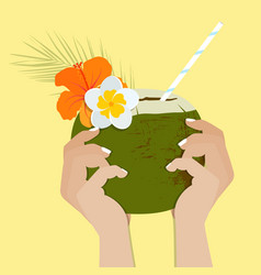 Tropical cocktail in coconut on a white background vector