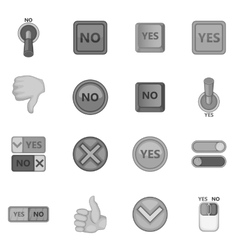 Yes no icons set monochrome style vector