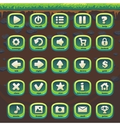Feed the fox gui match 3 set green buttons vector