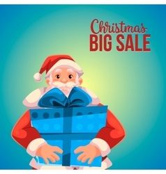 Christmas sale banner with cartoon santa claus vector