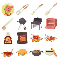 barbecue tools icons set cartoon style vector image