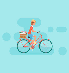 Female character design riding bicycle vector