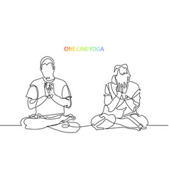 man and woman meditate in lotus position lineart vector image