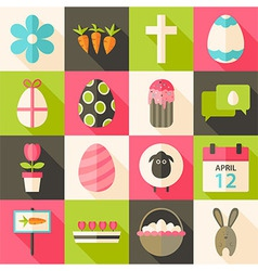 Easter flat styled icon set 3 with long shadow vector
