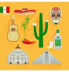 Mexico landmarks icons vector