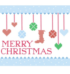 christmas cross stitch vector image
