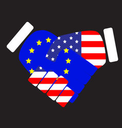 Symbol sign handshake european union and usa vector