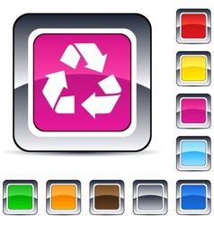 Recycling square button vector