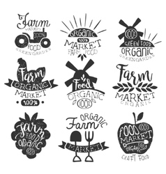 Organic market vintage stamp collection vector