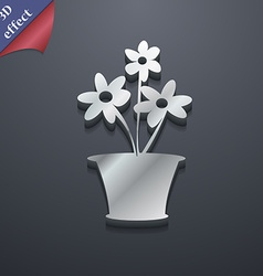 Vase of flowers icon symbol 3d style trendy modern vector