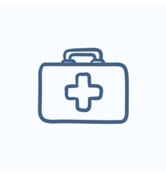 First aid kit sketch icon vector