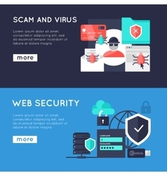 Computer security horizontal banners vector
