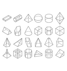 Abstract isometric 3d geometric outline shapes vector