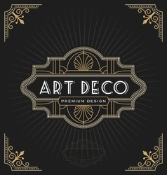 Art deco frame and label design vector