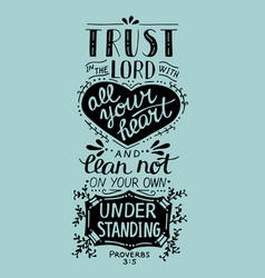 biblical hand lettering trust in the lord with vector image