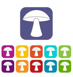 Birch mushroom icons set flat vector