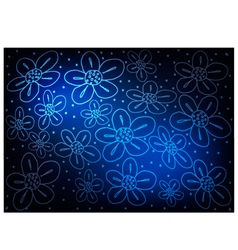 Blue vintage wallpaper with flower pattern vector