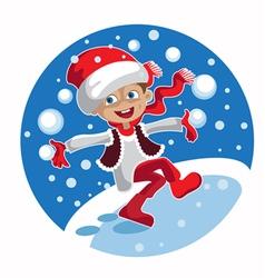 boy snowballs vector image vector image
