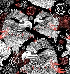Bright graphic pattern eagles head on a black back vector image vector image