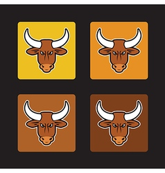 Brown bull set vector