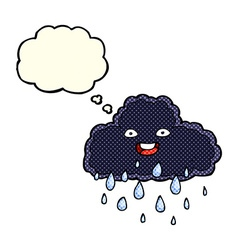 Cartoon raincloud with thought bubble vector