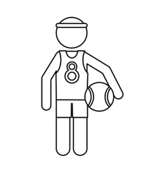Character player basketball with headband ouline vector