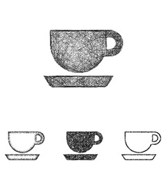 Coffee icon set - sketch line art vector