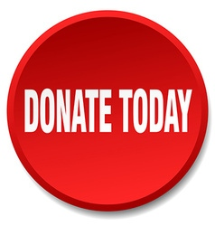 Donate today red round flat isolated push button vector