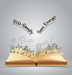 Ecology friendly creative concept drawing on book vector image vector image