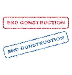 End construction textile stamps vector