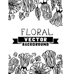 Floral black and white background vector image